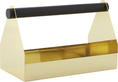 gold industry.  Modern home improvement at your service.  Glam gold-plated metal toolbox constructs a refined industrial place for everything from flatware and jewelry to office supplies and mail.  In bold contrast to black pine handle, sleek silhouette shows the mark of a metalsmith. Gold electroplated metalPine handle with black painted finishClean with dry or damp soft clothMade in Taiwan.
