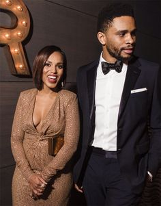 Kerry Washington and Nnamdi Asomugha Black Couples, Cute Couples, Power Couples, Celebrity Couples, Celebrity Style, Olivia Pope Style, Vintage Black Glamour, Vanity Fair Oscar Party, Cute Actors
