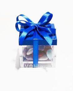 scatola lego blu confezionata bomboniera
