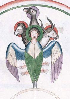 Le tétramorphe. Nicolas de Lyre, Postilles Troyes, Médiathèque de l'Agglomération, ms.152, fol. 291v.