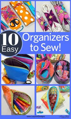 Wow!10 quick and easy sewing projects to help keep you organized. Make them for gifts and stocking stuffers, too. She used scraps from other projects or pre-cuts she had on hand. Quick gifts for kids, guys, and friends. #Organizers #QuickGift #StockingStuffer #Sewing
