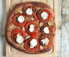 Vegan Richa: Tomato Garlic Mozzarella on 100% Whole Wheat crust Pizza. vegan recipe
