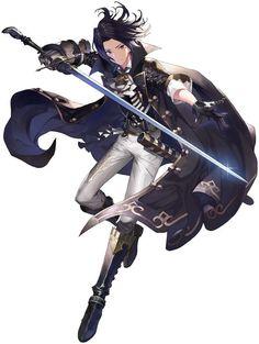 anime boy black hair sword