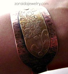 Etched brass and hammered copper cuff