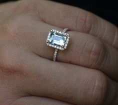 14k Rose Gold 9x7mm Aquamarine Emerald Cut and Diamonds Wedding or Engagement Ring (Choose color and size options at checkout)