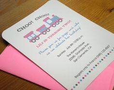 Choo Choo Train Birthday Invitations for girls with coordinating envelopes - Set of 15. $25.50, via Etsy.