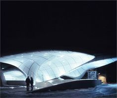 Zaha Hadid Architects have completed four stations on the Nordpark Cable Railway in Innsbruck, Austria. Zaha Hadid Architecture, Space Architecture, Futuristic Architecture, Amazing Architecture, Contemporary Architecture, Innsbruck, Parametric Design, Famous Architects, Amazing Buildings