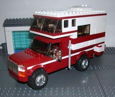 Lego Camper, Truck Camper, Lego City Sets, Lego Sets, Lego Fire, Lego Truck, Lego City Police, Plastic Model Cars, Cool Lego Creations