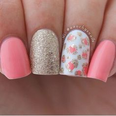 pink and gold accent nails -spring nails