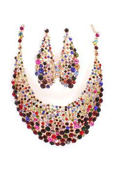 Magnolia Statement Necklace Set in Enchanting Crystal on Emma Stine Limited