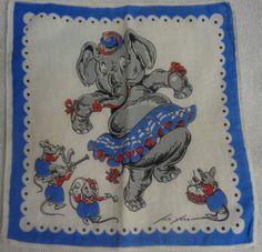 Tom Lamb Elephant Dancing With Mice Blue Edged Handkerchief #TomLamb #Childrens