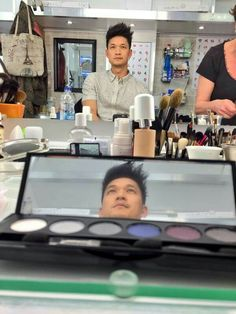 Harry Shum Jr getting ready to become Magnus Bane. So excited! can't wait to see the end result xx