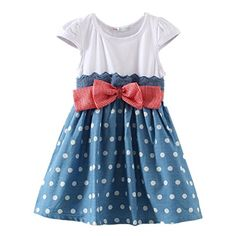 LittleSpring Little Girls Slim Dresses Bow Dot Size 3T Blue ** For more information, visit image link.Note:It is affiliate link to Amazon. #love
