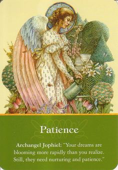"""Daily Inspirational Message, 10/08/2014 Patience, Archangel Jophiel """"Your dreams are blooming more rapidly than you realize.  Still they need nurturing and patience.""""  Read entire message here http://www.soulfulheartreadings.com/daily-inspirational-angel-messages/patience/"""