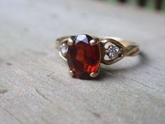 Garnet and Diamond Ring 10k yellow gold by LuceesTreasureChest