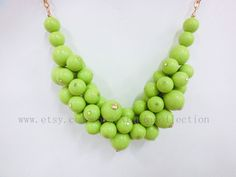 Apple Green beaded necklace, lovely ball, party jewelry . vintage necklace. $14.00, via Etsy.