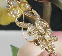 15ct Edwardian Seed Pearl & Diamond Necklace-Detachable pin/pendant from divinefind on Ruby Lane