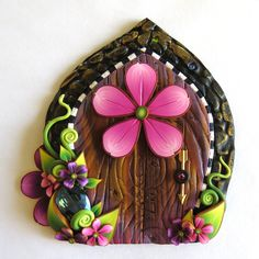 Pink Flower Fairy Door with a Big Sparkling Gem. by Claybykim on Etsy