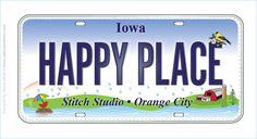 Stitch Studio, Orange City, Iowa Row by Row 2015 license plate
