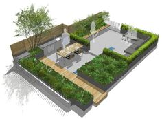 If life in the summer again – at least in leisure – mainly takes place outside, especially those who can call a garden with terrace their own can be particularly happy. Get inspired and set up outdoors! Terrace Garden Design, Rooftop Design, Pergola Design, House Garden Design, Rooftop Terrace, Landscape Design Plans, Garden Design Plans, Roof Garden Plan, Terraced Landscaping