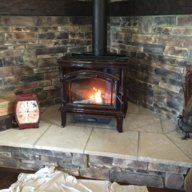 One Of Our Fine Forum Members Gwleo Recently Constructed A Nice Built In Wood Stove Hearth And Shared Wood Stove Hearth Wood Burning Stove Corner Wood Stove