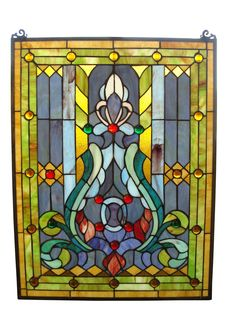 Features:  -Hanging chain included.  -319 Glass cuts .  -Tiffany collection.  Color: -Multi-colored.  Orientation: -Vertical.  Shape: -Rectangular.  Theme: -Floral. Dimensions:  Overall Height - Top t