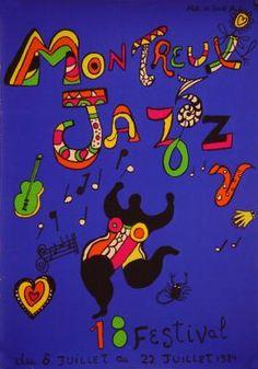 1984 Montreux Jazz Festival , Detroit MI vintage poster