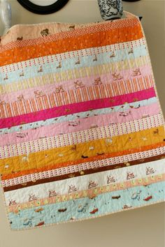 girlie stripes baby quilt