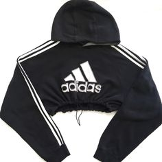 QUEENS | Reworked Adidas Crop Hoody Blk