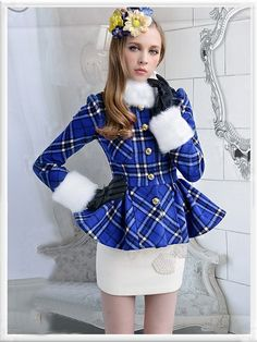 Morpheus Boutique  - Blue Plaid Button Down Hair Collar Long Sleeve Holiday Jacket