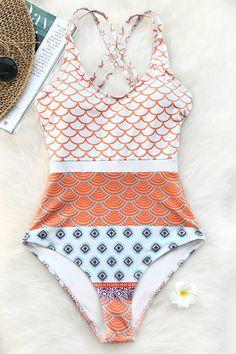 Cupshe Beautiful World Mermaid Waves Print One-piece Swimsuit U Neck High Waisted Bikini Set Padded Bathing Suit Swimwear Bikini Jaune, Bikini Bleu, Vs Bikini, Bikini Tops, Bikini Floral, Cute Mermaid, Mermaid Waves, Beautiful Mermaid, Bathing Suits