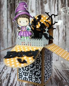 Little Witch Lucy from CC designs rubber stamps & designs. Box cut out from silhouette cameo.
