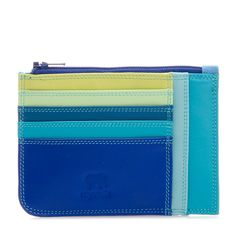 Ideal for when you're tight on space, this mini miracle holds cash or receipts and 4 credit cards. The central zip compartment fits a European ID.
