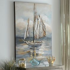 Our lifelike Moonlight Voyage Canvas Art lets you feel like you're a part of the crew. Enhance your wall decor with this encompassing, nautical painting! Art Texture, Texture Painting, Painting & Drawing, Oil Painting Lessons, Sun Painting, Painting Flowers, Nautical Painting, Sailboat Painting, Nautical Artwork