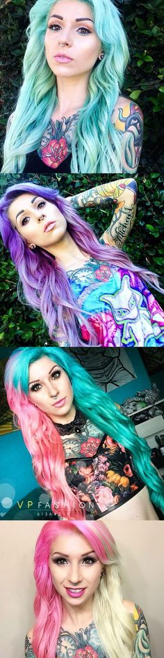 Airica Michelle colorful hair color show with VPfashion blonde DIY 613a clip in hair extensions. No matter what you like is blue, purple ombre or half pink and half blue / bonde, you can dye all with blonde DIY 613a# extensions. <3 <3