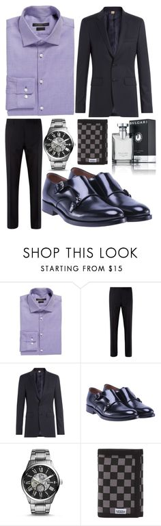 """""""Colton Hinks 2"""" by hannah-graves ❤ liked on Polyvore featuring John Varvatos * U.S.A., Burberry, Valentino, FOSSIL, Vans, Bulgari, men's fashion and menswear"""