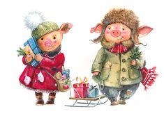 Сообщество иллюстраторов | Иллюстрация Новогодние свинки. New Year Illustration, Winter Illustration, Christmas Illustration, Cute Illustration, Christmas Pictures, Christmas Art, Xmas, Pig Art, Cute Piggies