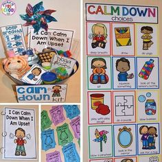Strategies and visual supports your preschool, pre-k, and kindergarten students can use to calm down when they are upset. (calm down kit, posters, book)