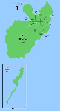 Map of KOh Racha Islands, Racha Yai and Racha Noi, with hotels and main points of interest Best Places In Bangkok, Phuket Travel Guide, Bay And Bay, Where To Go, Travel Guides, Islands, The Good Place, Traveling By Yourself, Thailand