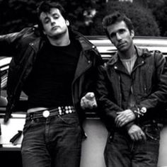 """The Lords Of Flatbush""- American drama film about street greasers,it's where the cool-cats developed their future legendary screen roles as The Fonz (Henry Winkler) and Rocky Balboa (Slyvester Stallone) Happy Days Tv Show, Greaser Guys, The Fonz, 50s Look, Bad Boy Style, Leather Men, Leather Jacket, Rain Suit, Teddy Boys"