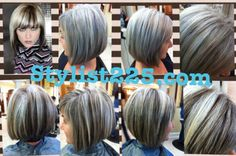 before & after, natural gray with dark ash brown low lights; under color looks amazing @stylist225.com