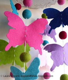 Bugs and Fishes by Lupin: How to: Butterfly Mobile felt scraps + felt balls