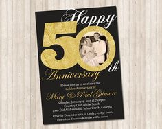 50th Golden Anniversary invitation with gold glitter and picture!