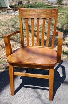 vintage antique 1930s solid honey oak office slat back mission style desk chair antique oak office chair