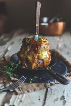 Meatloaf and mozzarella stack with spiced tomato sauce | heneedsfood.com