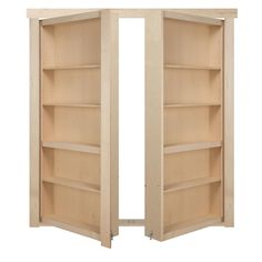 The Murphy Door 72 in. x 80 in. Flush Mount Assembled Maple Unfinished Out-Swing Solid Core Interior French Bookcase Door, Unfinished Wood Diy Interior, Interior Doors, French Interior, Room Interior, Modern Interior, Murphy Door, Murphy Bed Bookcase, Murphy Table, Murphy Beds