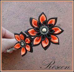 Neonová do vlasů Kanzashi čelenka vyrobená ze 2 saténů- černý a neonově oranžový. Velikost čelenky je univerzální.