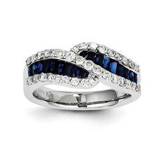 14K White Gold Sapphire Diamond Ring at Keswick Jewelers in Arlington Heights, IL 60005 www.keswickjewelers.com