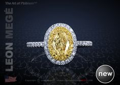 Galaxy™ halo ring featuring a GIA certified 0.71 carat oval fancy light yellow diamond. The center stone is embraced by double halo of yellow and white diamonds. Micro pave shank is set all around.