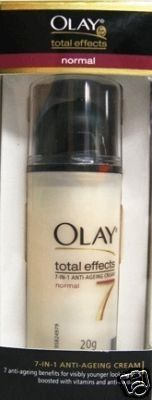 Olay Total Effects 7-in-1 Anti-ageing Cream SPF 15 by Olay. $13.99. Olay Total Effects gives your skin the benefit of seven anti-aging fighters in just one moisturizer. Regular use leaves skin smoother and more resilient with a noticeable reduction in pore size and a great improvement in skin texture. Skin will look its best in as little as one week of use. Apply the moisturizer on cleansed and toned face and neck. No need to use a separate sunscreen By Olay.   ...